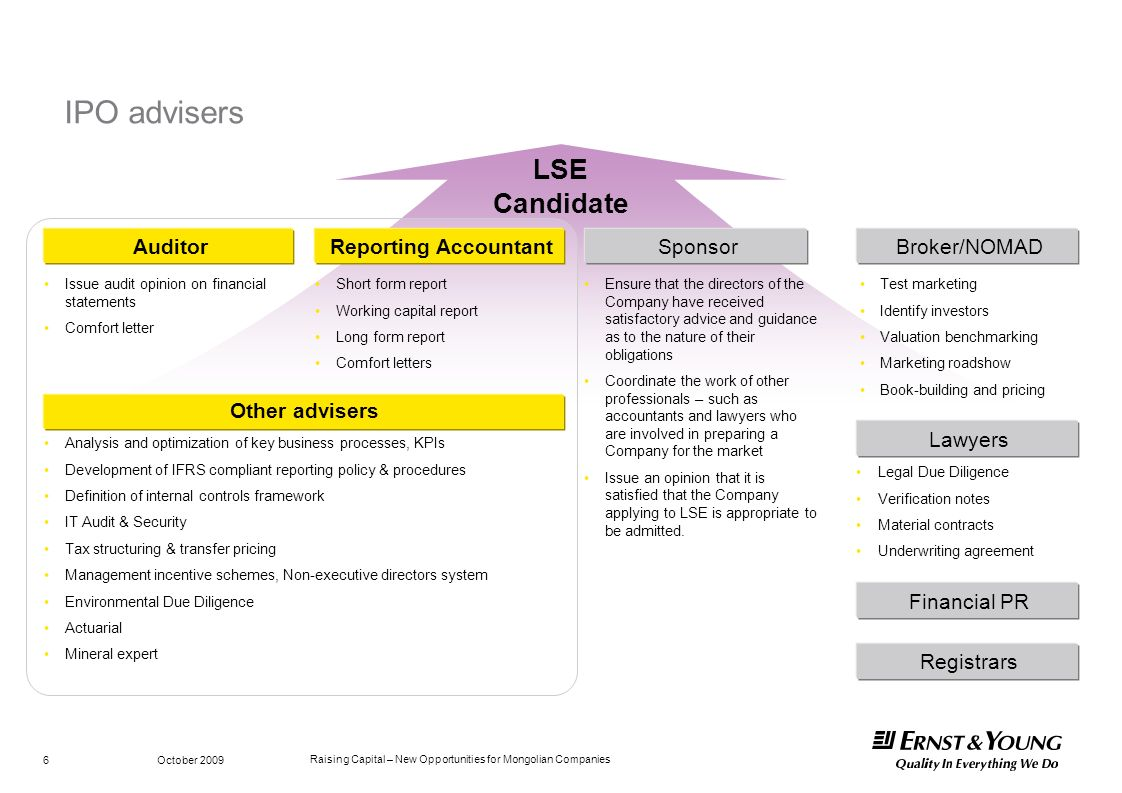 IPO advisers LSE Candidate Auditor Reporting Accountant Sponsor
