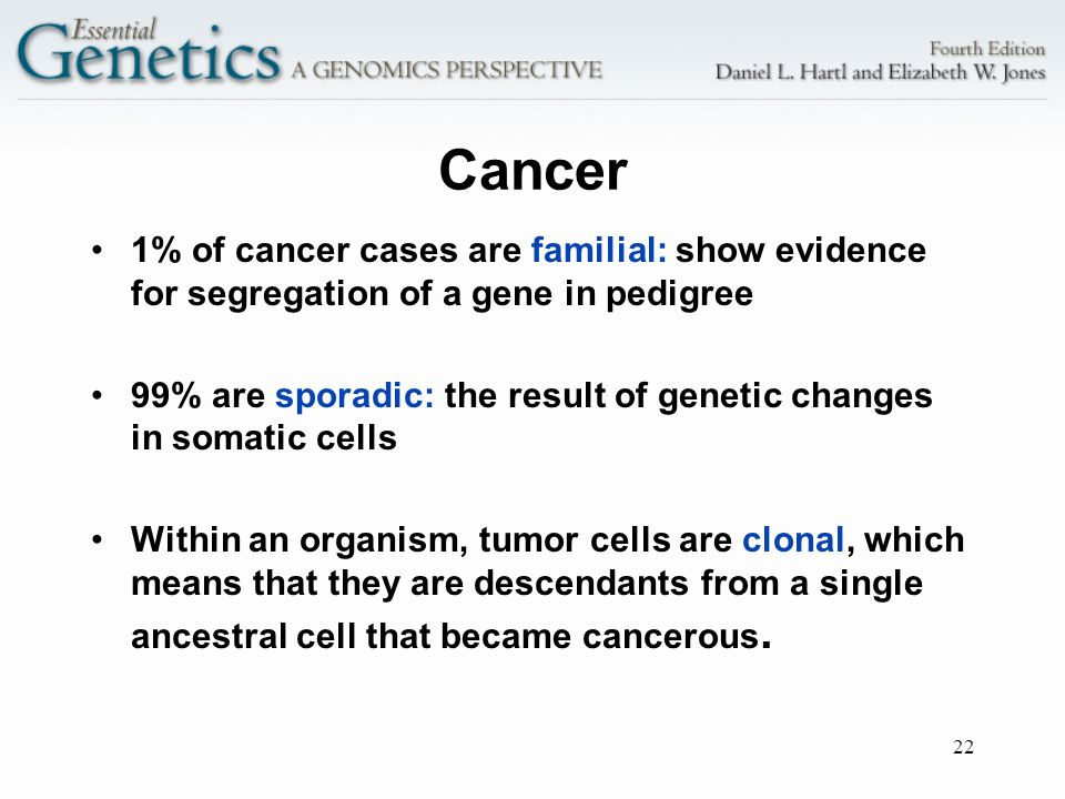 Cancer 1% of cancer cases are familial: show evidence for segregation of a gene in pedigree.