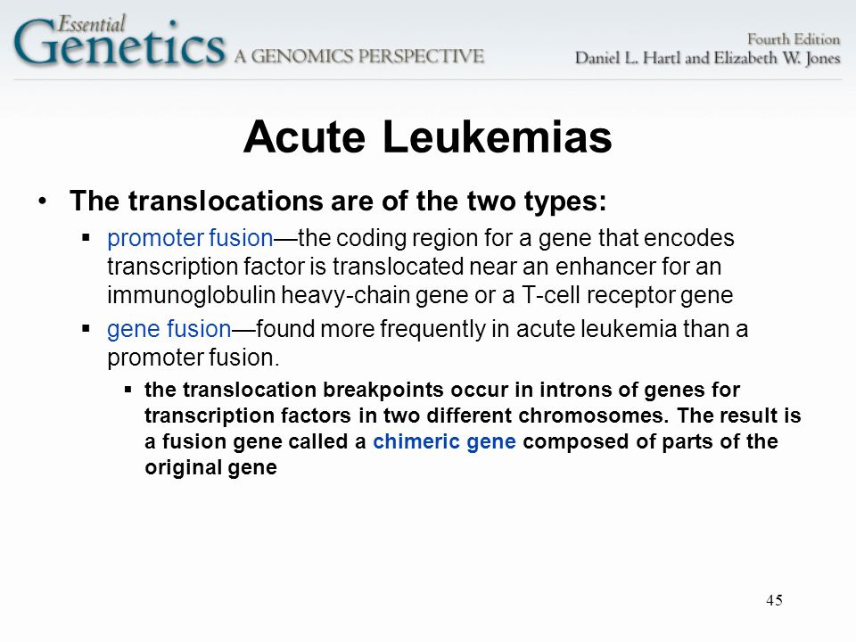Acute Leukemias The translocations are of the two types: