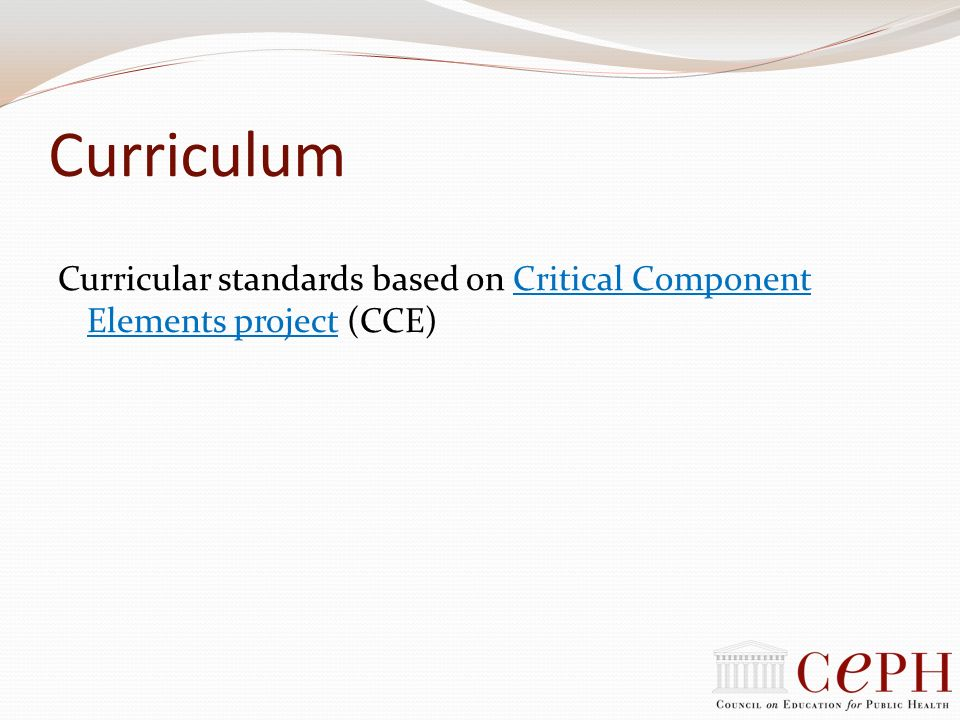 Curriculum Curricular standards based on Critical Component Elements project (CCE)