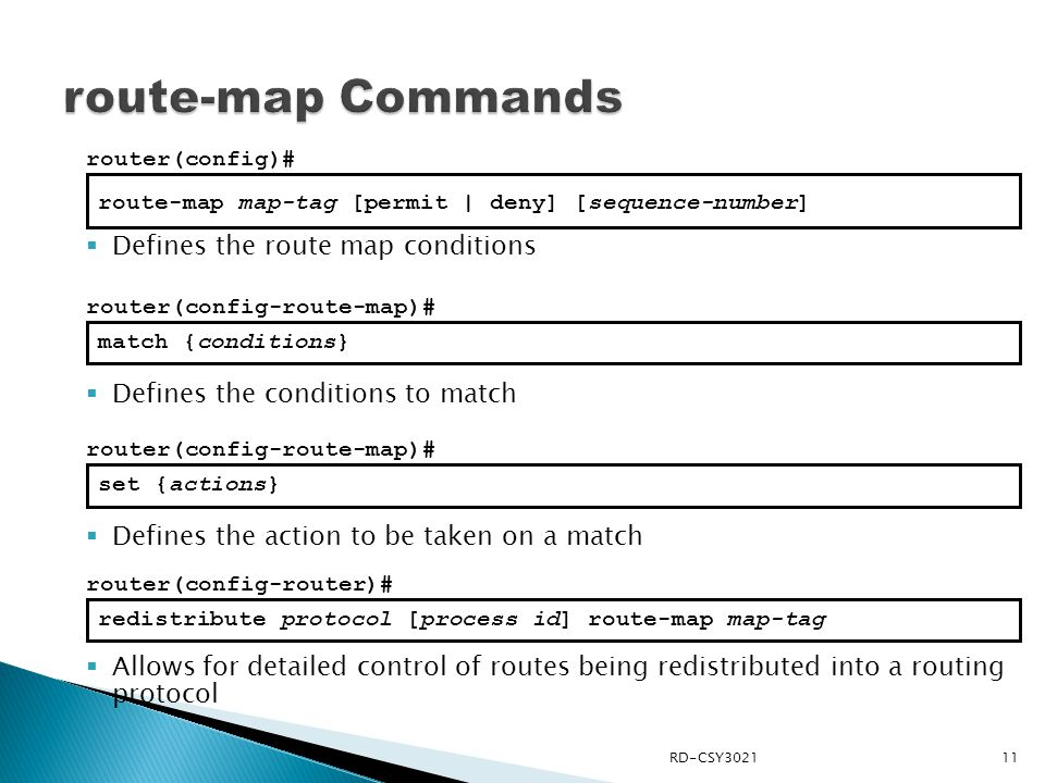 route-map Commands Defines the route map conditions