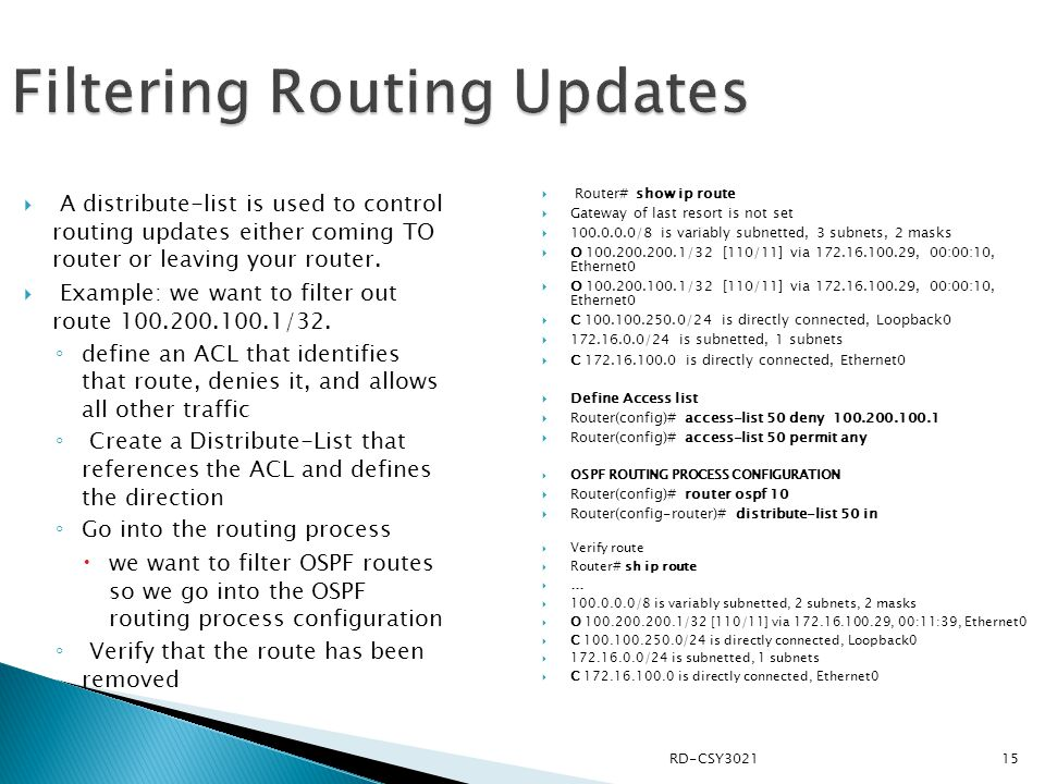 Filtering Routing Updates