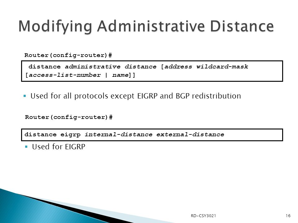 Modifying Administrative Distance