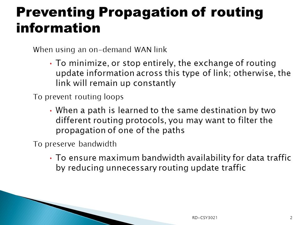 Preventing Propagation of routing information