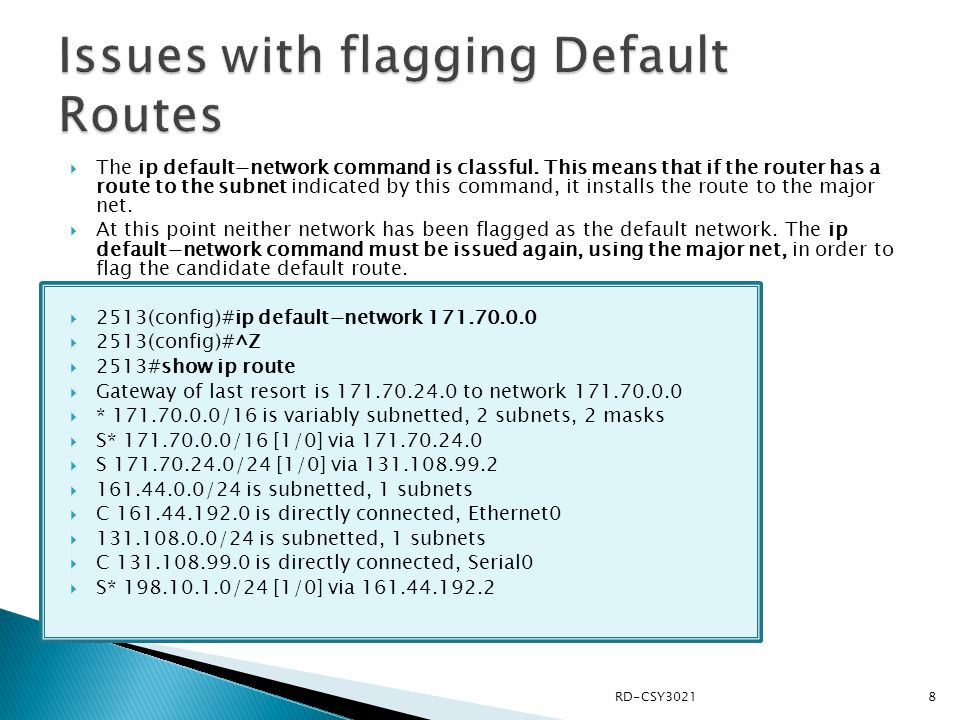 Issues with flagging Default Routes