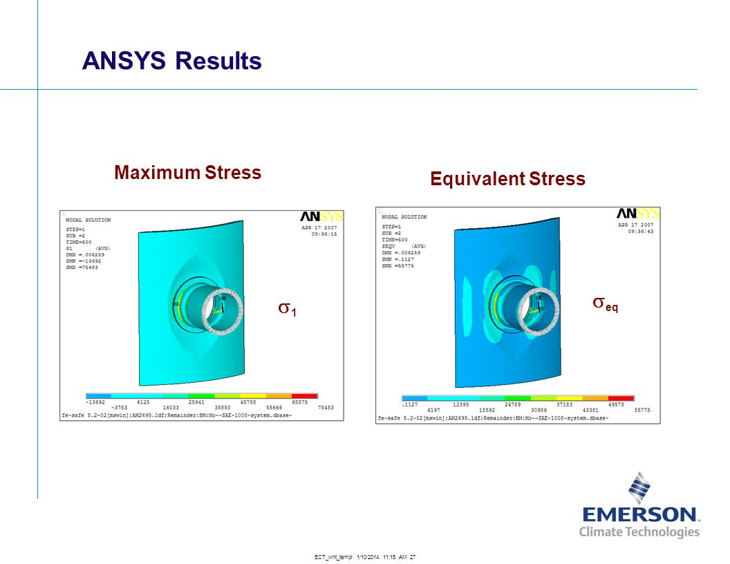 ANSYS Results Maximum Stress Equivalent Stress s1 seq