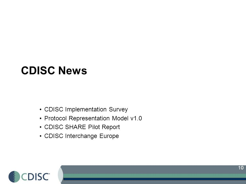 CDISC News CDISC Implementation Survey