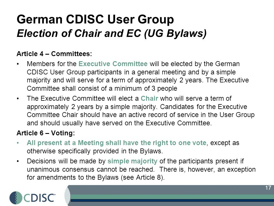 German CDISC User Group Election of Chair and EC (UG Bylaws)
