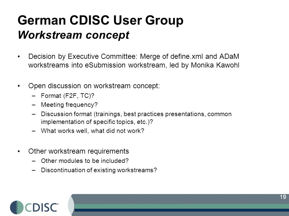 German CDISC User Group Workstream concept