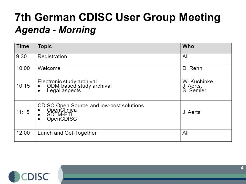 7th German CDISC User Group Meeting Agenda - Morning