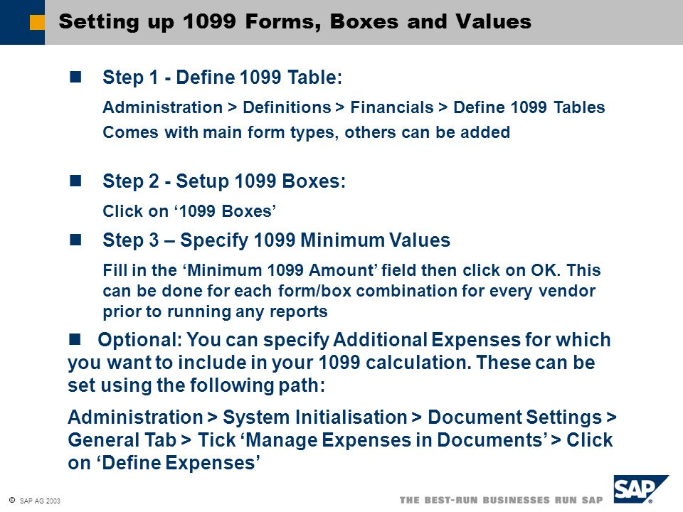 Setting up 1099 Forms, Boxes and Values