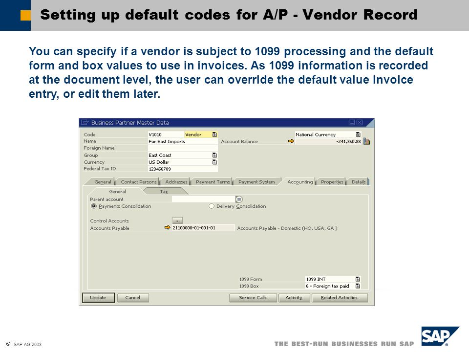 Setting up default codes for A/P - Vendor Record