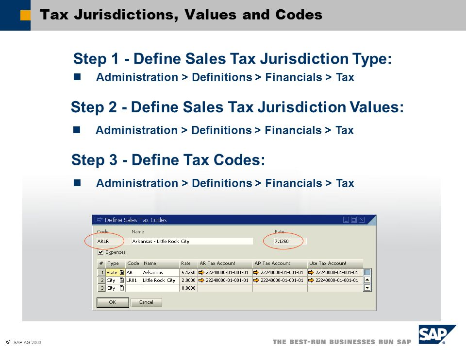 Tax Jurisdictions, Values and Codes