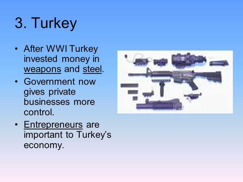 3. Turkey After WWI Turkey invested money in weapons and steel.