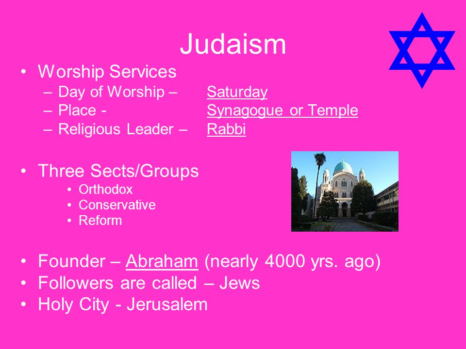 Judaism Worship Services Three Sects/Groups