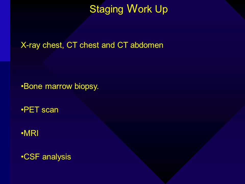 Staging Work Up X-ray chest, CT chest and CT abdomen
