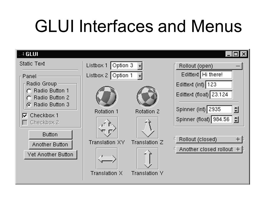 GLUI Interfaces and Menus