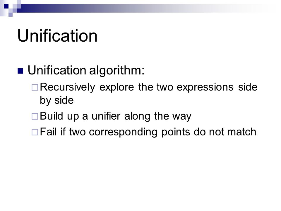 Unification Unification algorithm: