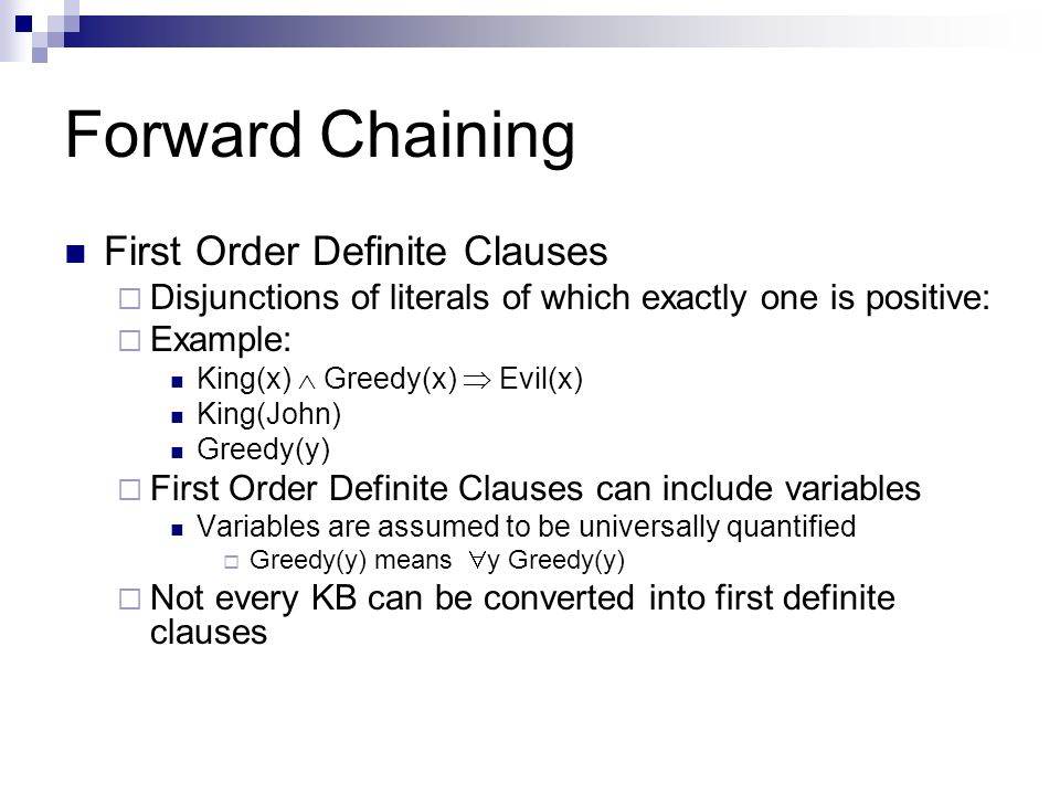 Forward Chaining First Order Definite Clauses