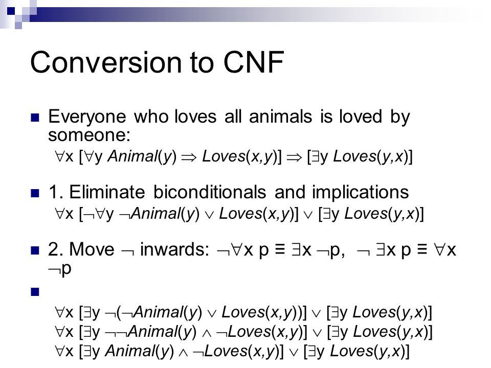 Conversion to CNF Everyone who loves all animals is loved by someone:
