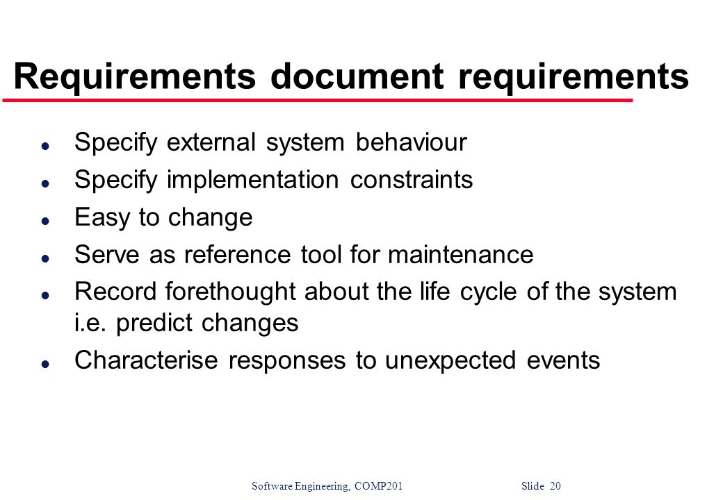 Requirements document requirements