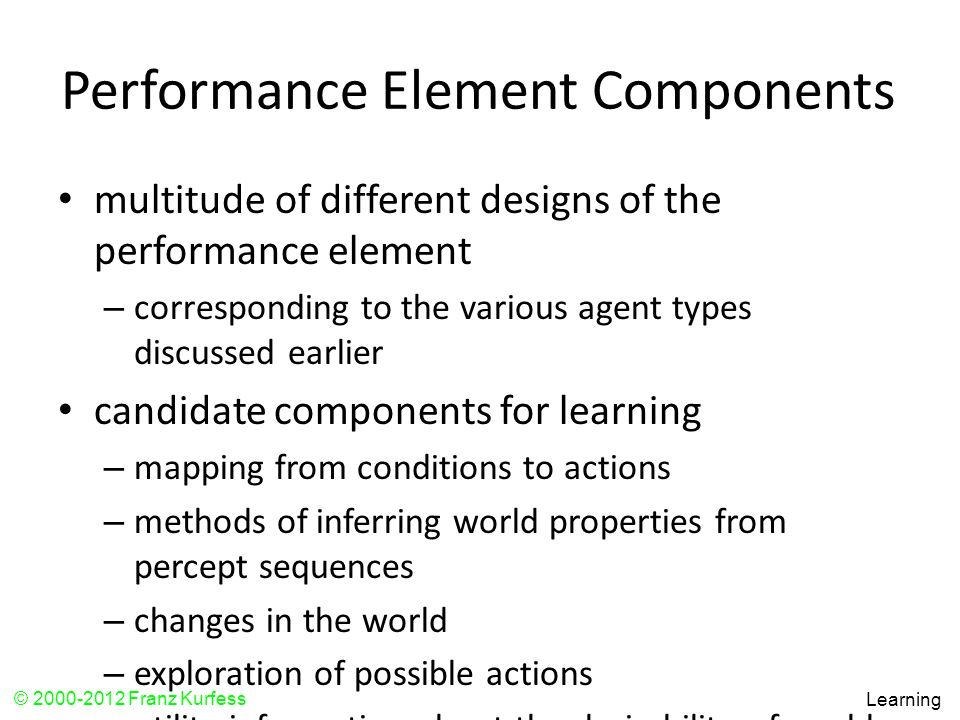Performance Element Components