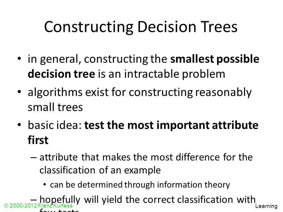 Constructing Decision Trees