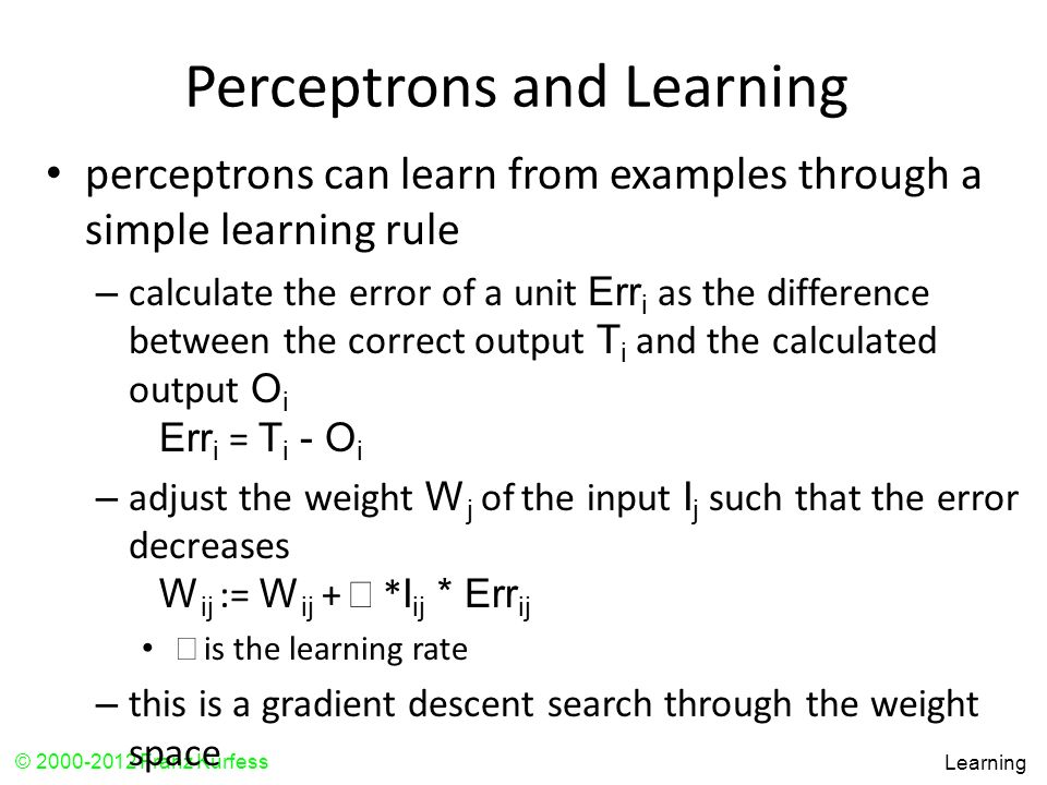 Perceptrons and Learning