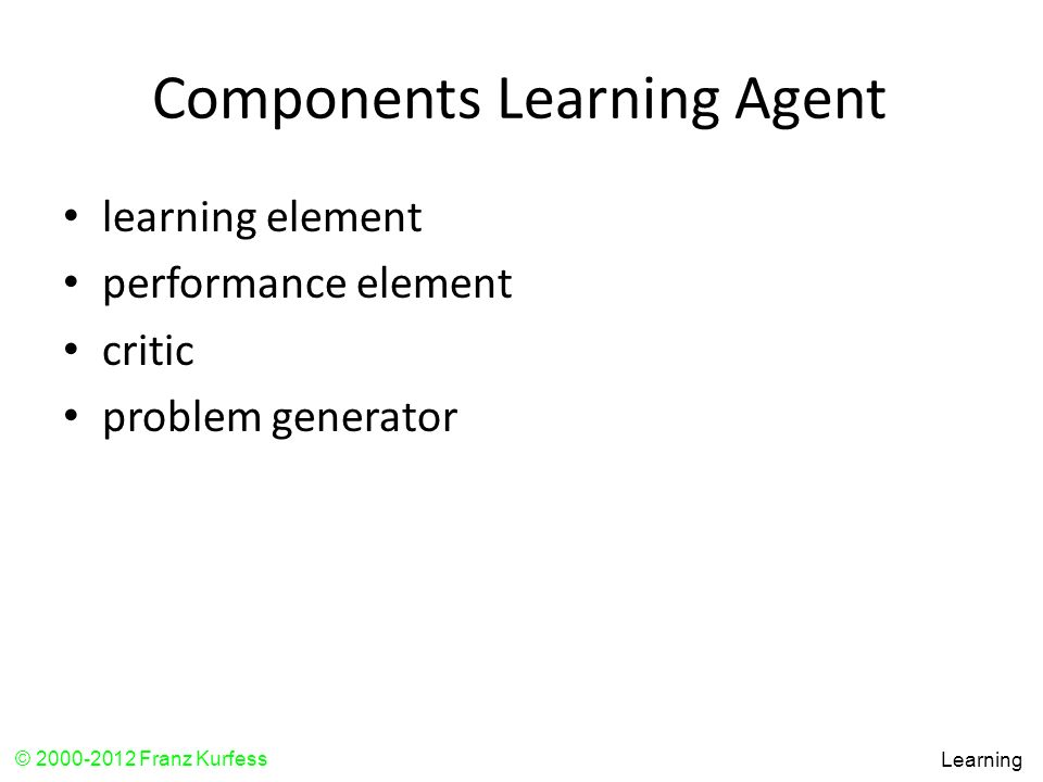 Components Learning Agent