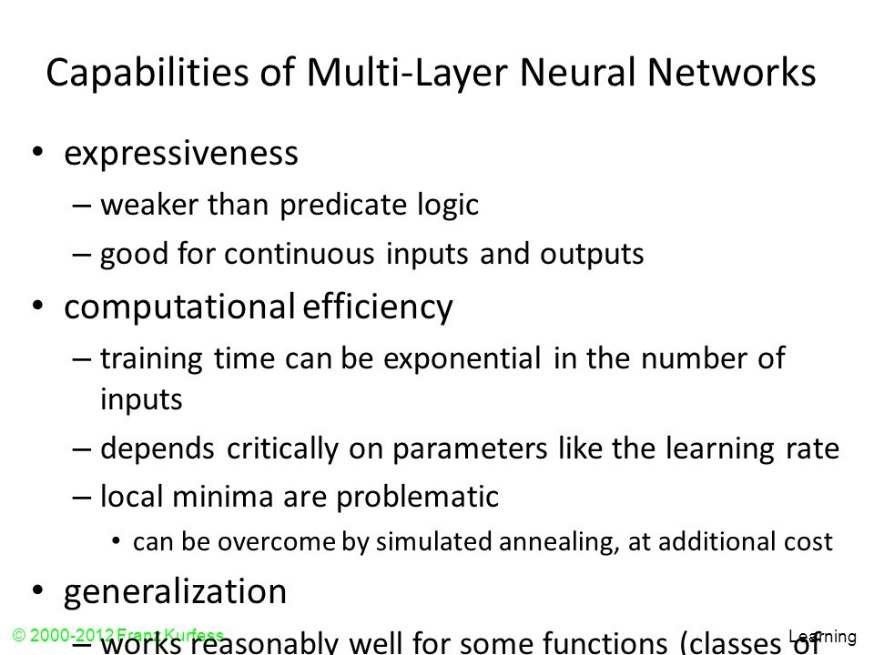 Capabilities of Multi-Layer Neural Networks