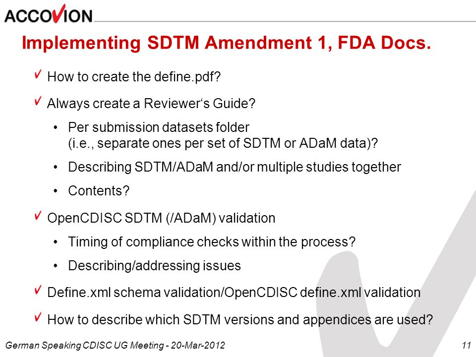 Implementing SDTM Amendment 1, FDA Docs.