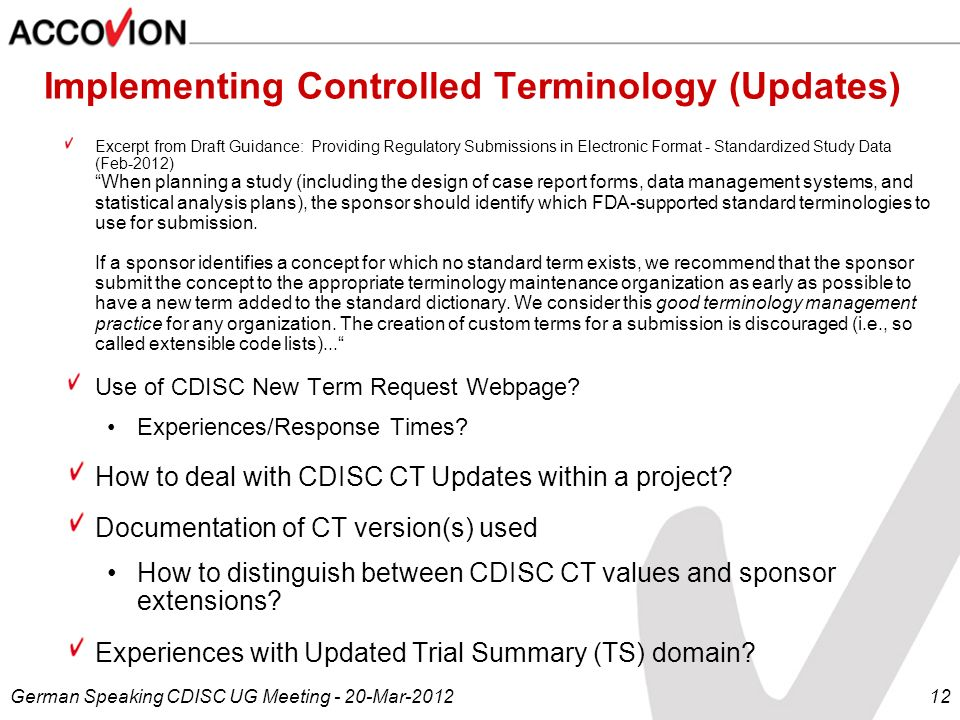Implementing Controlled Terminology (Updates)