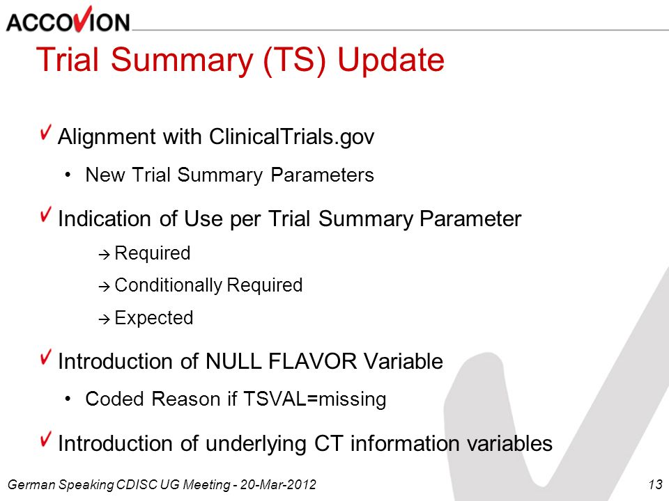 Trial Summary (TS) Update