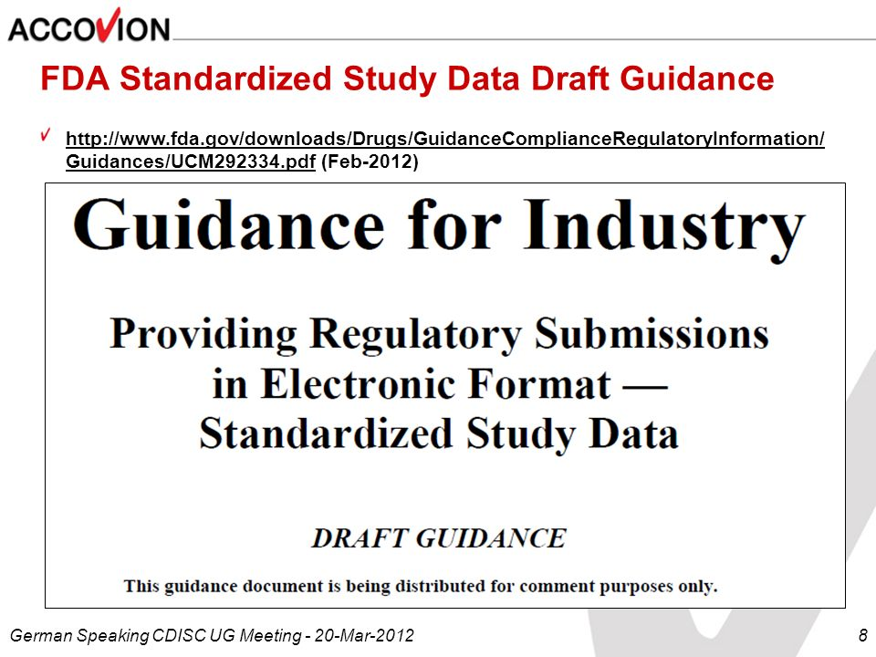 FDA Standardized Study Data Draft Guidance