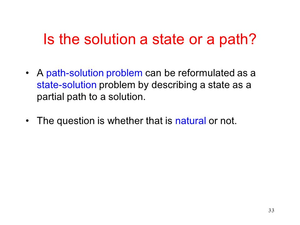 Is the solution a state or a path