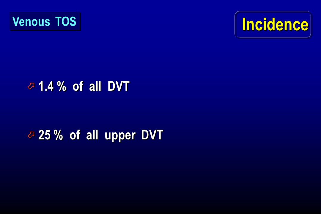 Venous TOS Incidence 1.4 % of all DVT 25 % of all upper DVT