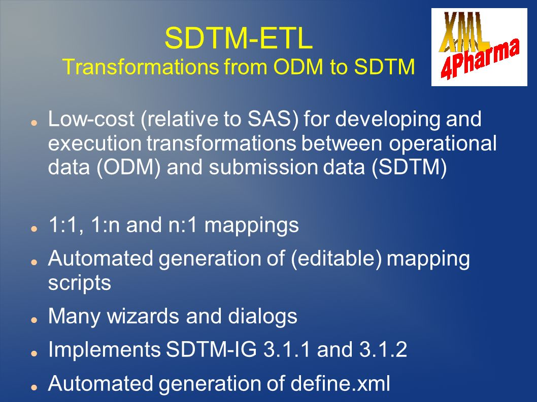 SDTM-ETL Transformations from ODM to SDTM