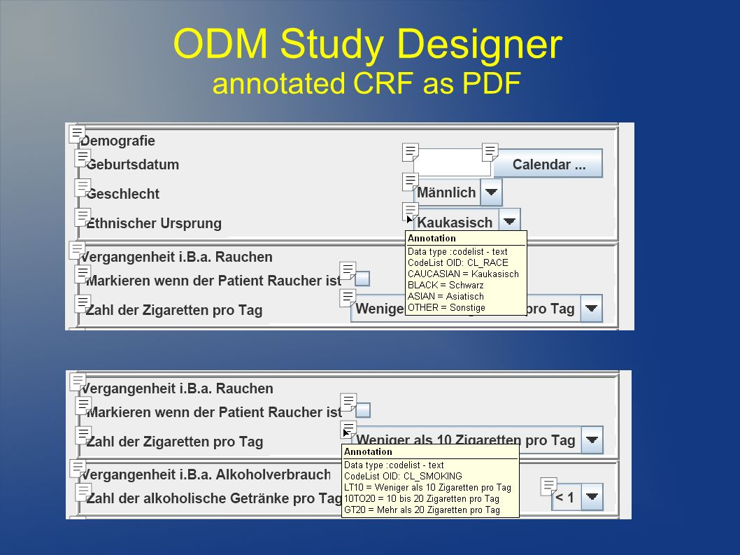 ODM Study Designer annotated CRF as PDF