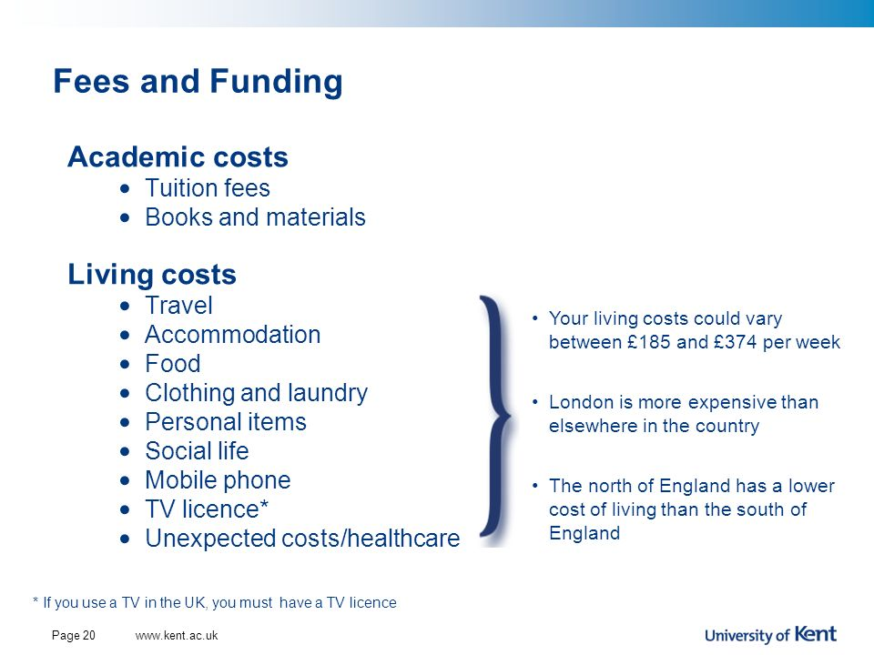 Fees and Funding Academic costs Living costs Tuition fees