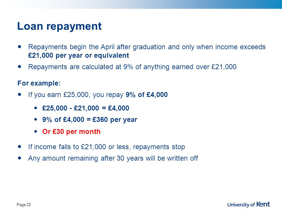 Loan repayment Repayments begin the April after graduation and only when income exceeds £21,000 per year or equivalent.