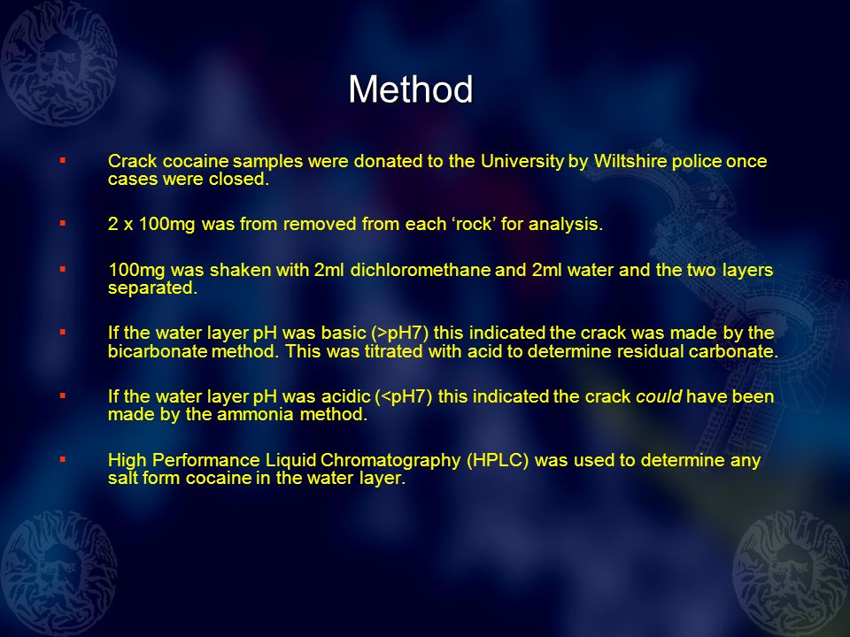 Method Crack cocaine samples were donated to the University by Wiltshire police once cases were closed.
