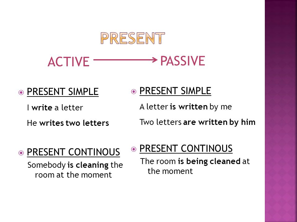 present ACTIVE PASSIVE I write a letter A letter is written by me