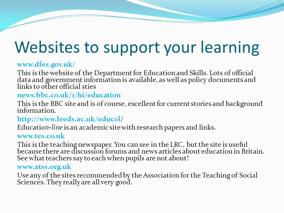 Websites to support your learning