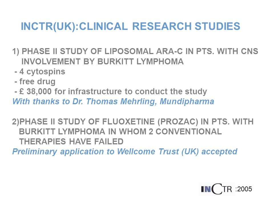 INCTR(UK):CLINICAL RESEARCH STUDIES