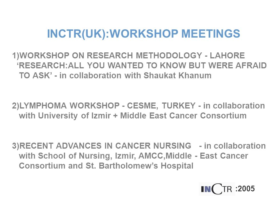 INCTR(UK):WORKSHOP MEETINGS