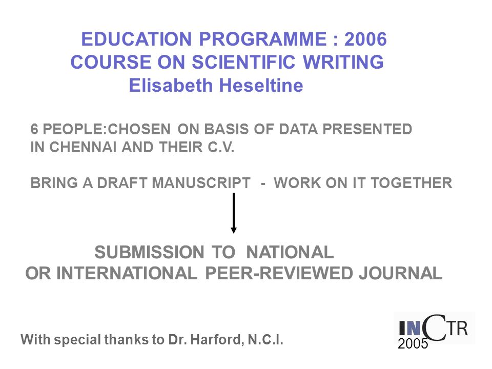 COURSE ON SCIENTIFIC WRITING Elisabeth Heseltine