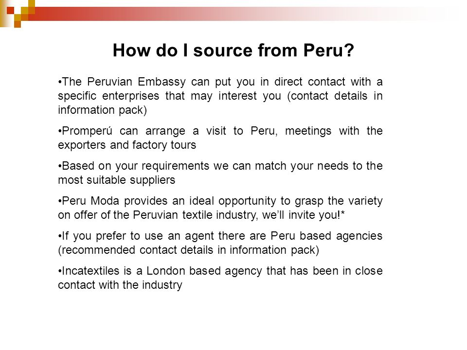 How do I source from Peru