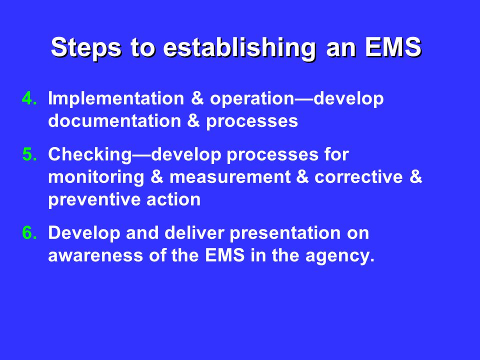 Steps to establishing an EMS