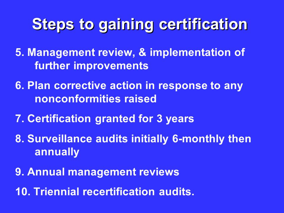 Steps to gaining certification