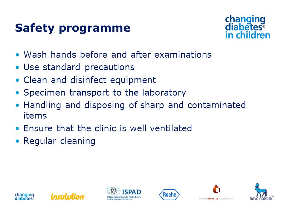 Safety programme Wash hands before and after examinations